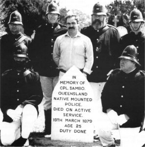 Members of the Police Historical Society at the re-dedication of the grave of Corporal Sambo, Benalla Cemetry, October 1993 (from Haldane 1996:19).