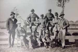 From left Senior Constable Tom King, Sub Inspector Stanhope O'Conner, Barney, Johnny, Jimmy, Jack and Hero, Victorian Police Superintendent J Sadlier (arms folded), and Victorian Police Commissioner, Captain Standish