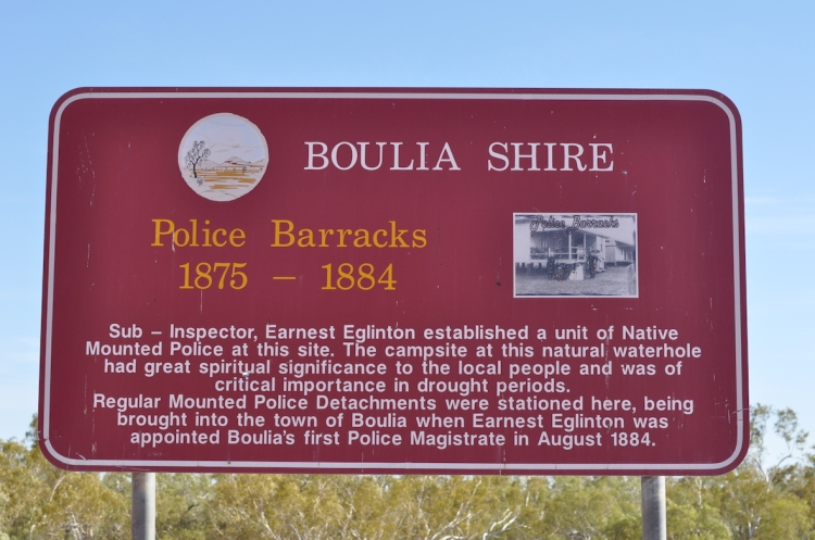 Signage at the Boulia NMP barracks site (photograph by Iain Davidson, July 2016)