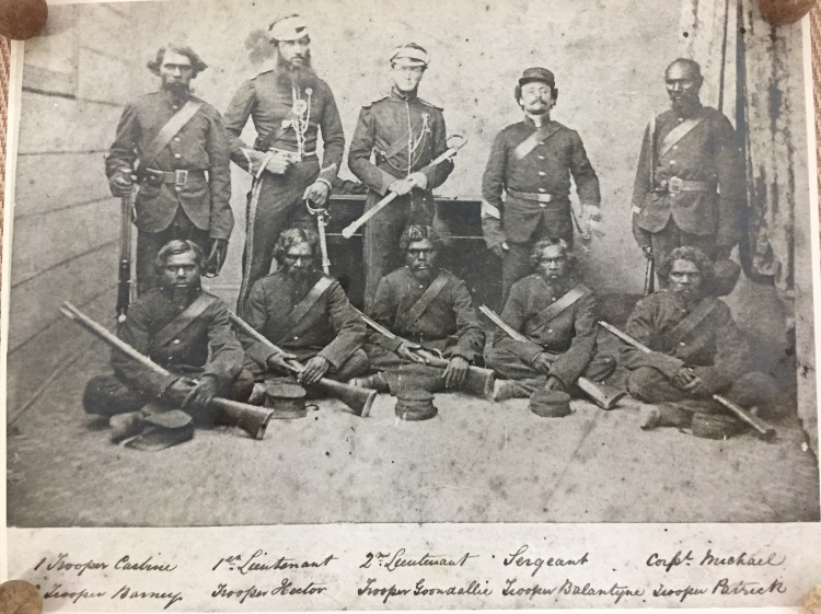Murray and troopers Carbine, Michael, Barney, Hector, Goonelli, Ballantyne and Patrick, Rockhampton 1860